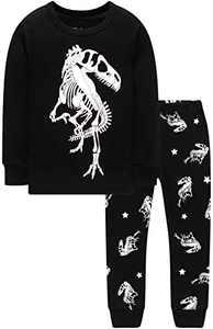 Children Christmas Dinosaurs Pajamas Boys Grils Glow in The Dark T-Rex Pyjamas Kids Pants Set Size 7