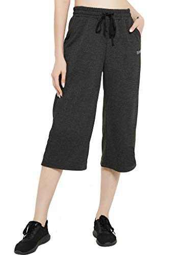 DEMOZU Women's Cotton Capri Pants Wide Leg Yoga Lounge Indoor Jersey Crop Sweatpants with Pockets, Dark Grey, M