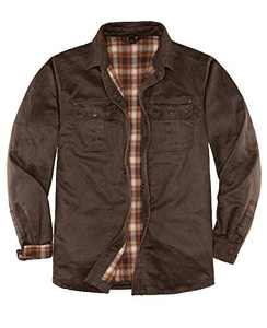 ZENTHACE Mens Shirt Jacket,Heavy Washed Rugged Cotton Shirt Jackets,Outdoorsy Utility Jacket(Full Flannel Lined) Tobacco XXL