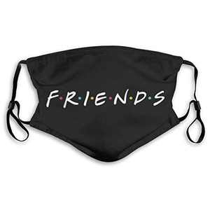 Friends Logo TV Series Show F.R.I.E.N.D.S Face Mask Balaclava Windproof Men's Women's Dustproof Mouth Cover with 2 Filter Adjustable Elastic Strap Made In USA
