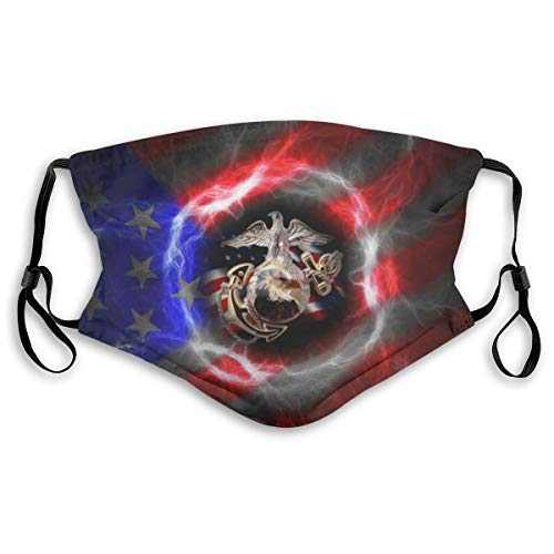 Blue Red Halo USMC America Flag Face Mask Balaclava Windproof Men's Women's Dustproof Mouth Cover with 2 Filter Adjustable Elastic Strap Made In USA
