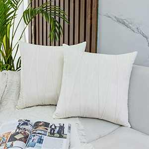 JUSPURBET Decorative Velvet Throw Pillow Covers with Velvet Striped,Pack of 2 Cushion Covers for Sofa Couch Bed,18x18 Inches,Cream White
