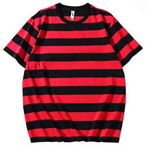 Syrirotus Essential Men's Crew-Neck 4cm Stripes T-Shirts Casual Cotton Spandex Tee Short Sleeve Tops(red & Black)