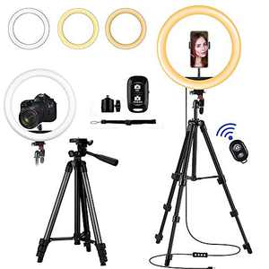 """12"""" LED Selfie Ring Light with Tripod Stand - Cellphone Holder for Live Stream/TIK Tok/YouTube/Facebook/Vlogging Photo & Video Shoot. Dimmable Light for Image Enhancement - Bluetooth Remote."""