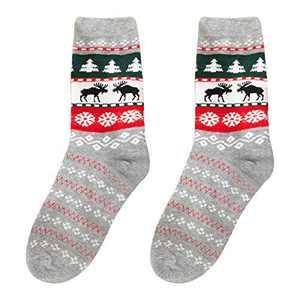 OhhGo 1 Pair Christmas Holiday Socks Unisex Xmas Combed Cotton Socks for 4-8Y Kids