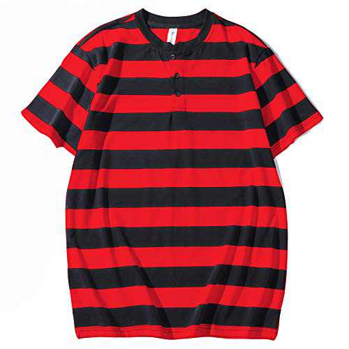 Syrirotus Essential Men's Henley Shirt with 3 Button Neck 4cm Stripes Tee Casual Short Sleeve T-Shirt(red & Black)