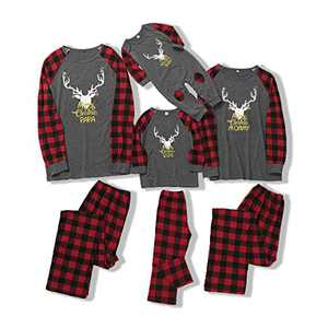 SOONHUA Elk Red Plaid Pajamas Set for Family Kid Baby and Adult Pajamas Outfits