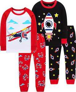 Boys Airplane Pajamas Christmas Children Cotton Rocket Pjs Kids Cotton Pyjamas Girls Cool School Clothes 3t