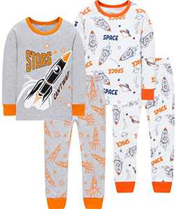 Boys Christmas Rocket Pajamas Toddler Kids Catoon Stars Pjs Birthday Gift Long Sleeve Pants Set Size 3