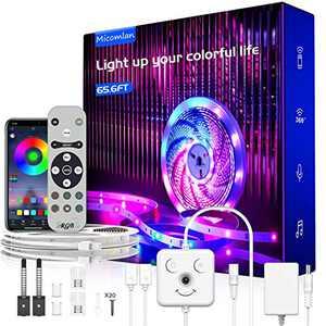 "66ft LED Strip Lights, Music Sync Color Changing RGB LED Lights""Smile Face""Controller & Remote Built-in Mic, Bluetooth APP Light Strip Rope Lights, LED Light Strip for Bedroom"