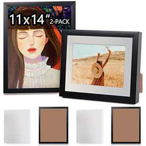 Gallery Canvas Picture Frame Kit with 2pc 11x14'' Blank Stretched Canvases | Wall or Table Top Decoration, 2 Pack