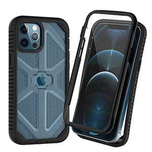 OTBBA for iPhone 12 Pro Max Case 6.7 Inch,with Built-in Screen Protector Shockproof Full-Body Rugged Protective Drop Protection Case for iPhone 12 Pro Max Cases (Black+Clear)