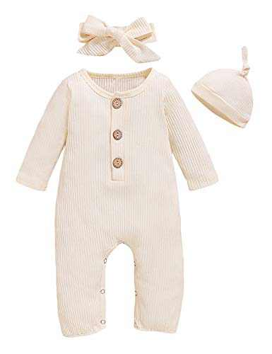 TrulyBee Baby Girl Boys Solid Color Romper Infant Cotton Jumpsuit with Hat and Headband (White,6-12 Months)
