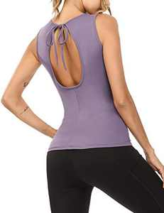Sykooria Women's Workout Shirts Open Back Yoga Sport Tops Fitness Active Tank Tops (Purple,L)
