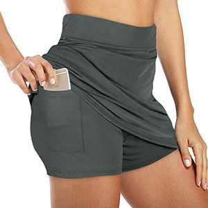 NIMIN Women's Active Athletic Skorts Exercise Skirt with Pocket for Tennis Golf Sport Workout Dark Grey Large