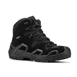 RockRooster – Walland Men 6'' Lightweight Trekking Military Waterproof Rubber Outsole Backpacking Hiking Boots Outdoor Boots KS535 BLACK-12
