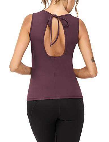 Sykooria Yoga Tank Tops for Women Activewear Workout Tank Tops Open Back Running Sports Shirts (Arctic Plum,M)