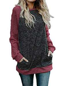 Women's Casual Crewneck Long Sleeve Tunic Tops Color Block Raglan Shirts with Pockets Wine Red