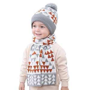 NCONCO 2pcs Boys Girls Hat Scarf Set Children Winter Knitted Warm Cap Neck Warmer for 1-4Y Kids