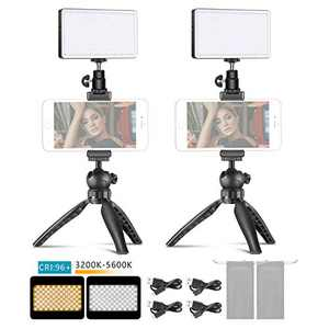 Neewer 2-Pack Metal LED Video Light Mobile Phone Stand Desktop Set: 3200-5600K/Dimmable Brightness/CRI96+/Built-in 4500mAh Battery/OLED Display + Mini Tripod Stand with Metal Smartphone Clip