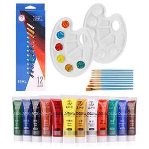 Acrylic Paint Set, 12 Colors + 10 Brushes + 2 Palettes, 15ml/Tube, for Paper, Canvas, Wood, Ceramic, Fabric and Crafts. Non Toxic Rich Pigments Lasting, for Beginners, Students, Professionals Artist