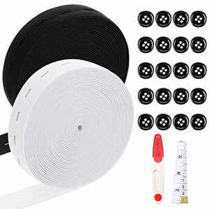 2 Rolls 3/4 inch 11 Yards Elastic Band with Holes Sewing Elastic Band Stretch Button Band with Buttonhole and 20 Pieces 18 mm Black Resin Button with Soft Measure Tape, Scissors