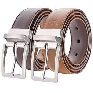 "ToyRis Men's Belt Leather Reversible Belt 1 3/8"" Width, Mens Casual Dress Belt One for 2 Colors (Brown/Cognac, 42"")"