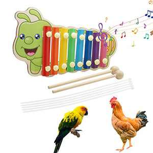 hatatit Wooden Chicken Xylophone Toy 8-Tone Hens Knocking Xylophone Toy Hens Play Coop Toys with 2 Wooden Sticks and 5 Pieces Fixed Lines