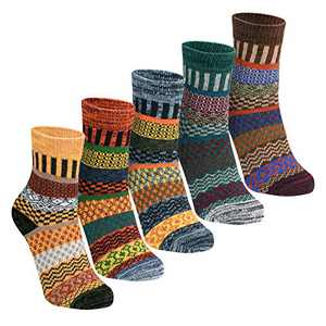 Women Winter Socks 5 Pairs Cotton Thick Knit Vintage Soft Cozy Casual Fuzzy Crew Socks