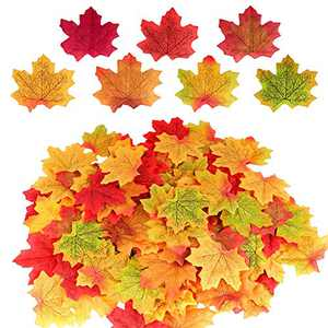 DEEMEI 300 PCS Fall Mixed Colored Artificial Maple Leaves Fake Autumn Leaf for Weddings,Thanksgiving, Events, Halloween and Party Decor (Multicolor)