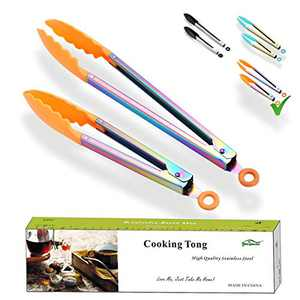 Berglander Tongs For Cooking, Titanium Plating Rainbow Kitchen Tongs, Grill Tongs, Cooking Tongs, BBQ Tongs For Cooking With Silicone Tips, Serving Tongs Dishwasher Safe Pack of 2