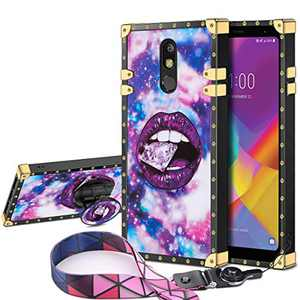JAKPAK Case for LG Stylo 5 Case with Kickstand for Girls Women Soft TPU Luxury Stylo 5 Case with Strap Shockproof Protective Heavy Duty Metal Cushion Reinforced Corner Case for LG Stylo 5 Purple Lip