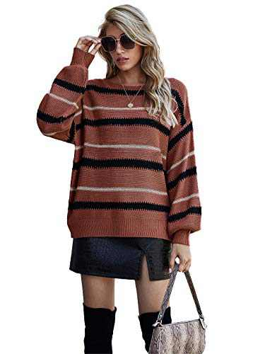 Anna-Kaci Women Knit Sweaters Color Block Striped Pullover Long Sleeve Scoop Neck Sweater, Burgundy, Large