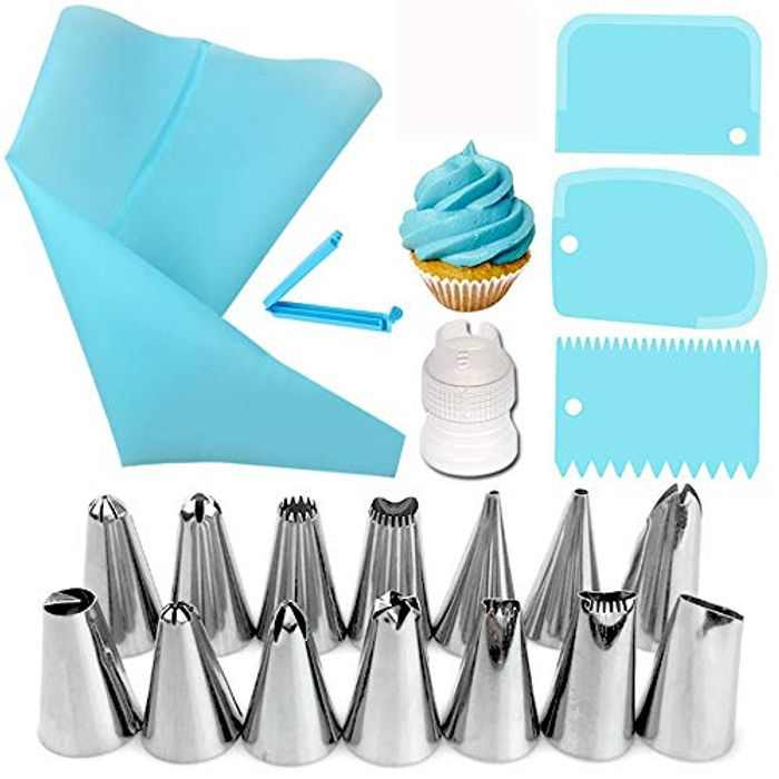 20 Pcs Icing Piping Bags and Nozzles Set, Cake Decorations Tools with 3 Pcs Spatula/Scraper, Stainless Baking Tools