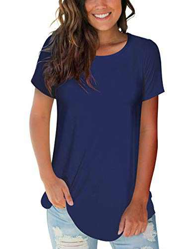 deqiang Womens Tops Short Sleeve Round Neck Loose Fitted T-Shirt Summer Casual Blouse