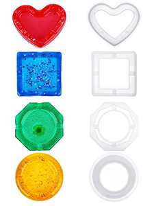 4 Pieces Epoxy Resin Silicone Mold,Resin Art Mold, Including Square Mold, Heart-Shaped Mold, Circular Resin Casting Mold and Diamond Shaped Mold