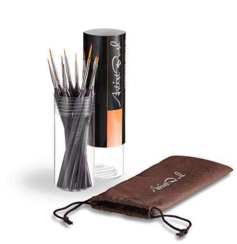 Detail Painting Brush Set, Paint Brush Set, Oil Painting Brush, 12 Set Miniature Pointed Brushes, Fine Tips, Ergonomic Handle, Dagger Brush for Small Scale Model Art Acrylic Watercolor Oil Gouache