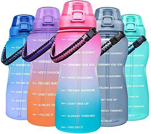 Giotto Large Half Gallon/64OZ Motivational Water Bottle with Paracord Handle & Removable Straw - Leakproof Tritan BPA Free Fitness Sports Water Jug with Time Marker-Light Pink/Green Gradient