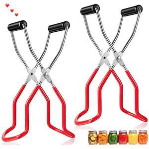 Canning Jar Lifter Tongs Stainless Steel Jar Lifter With Grip Handle Wide Mouth Clip For Home Diy -2 Pack