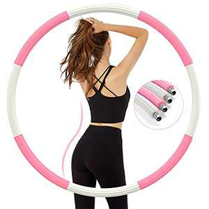 Aioweika Weighted Exercise Hoop for Adults Weight Loss, Improved Stainless Steel Workout Hoop for Exercise, 8 Sections Detachable Design with Thicker Foam, 2.7 lb for Slimming