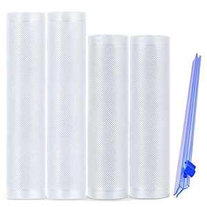 """Vacuum Sealer Bags Rolls for Food Saver, BPA Free Heavy Duty Food Storage Bags with Cutter for Vac storage, Seal a Meal, Meal Prep or Sous Vide, 2 Packs 8""""x16.5' and 2 Packs 11""""x 16.5'"""