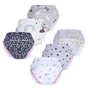 BIG ELEPHANT Unisex Baby Pure Cotton Potty Training Pants Ultra Wide Pee-Proof Wing Underwear 6-Pack Set