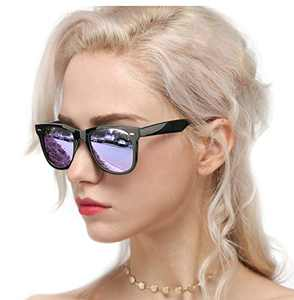 Myiaur Classic Sunglasses for Women Polarized Driving Anti-Glare 100% UV Protection (Black Frame/ Purple Mirrored Polarized Lens)