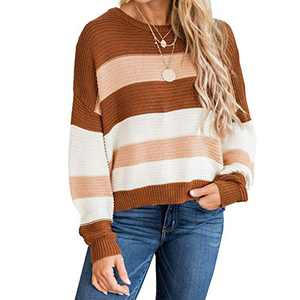 MISSJOY Women's Long Sleeve Crew Neck Color Block Sweater Striped Knit Oversized Pullover Casual Loose Jumper Tops Blouse Brown