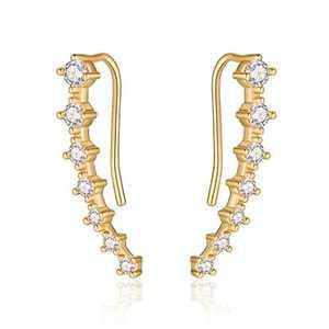 Ear Crawler Earrings for Women Ear Climbers, 925 Sterling Silver Post Cubic Zirconia Gold Plated Crawler Climbers Hypoallergenic Earlobe Earrings for Women Sensitive Ears, Earrings that Go Up the Ear