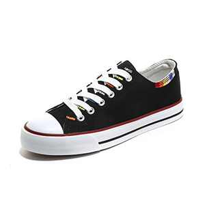 ANQILA Women Canvas Fashion Embroidery Black Shoes Lightweight Low Top Comfortable Lace Up Classic Sneakers Black 8