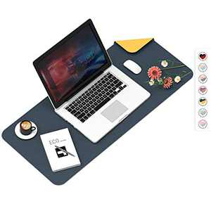 """Mouse Pad, Desk Mat, Large Leather Desk Pad, Dual-Sided PU pad Waterproof Mouse Pad for Laptop, Office Table Protector Blotter Gifts 23.6""""x13.7"""" Navy Blue & Orange"""