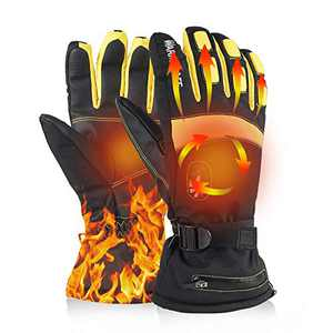 BASHIK Rechargeble Heated Gloves for Palm and Back of Hands 3000Mah Battery for Motorcycle/Hunting/Ski/Hiking/Camping/Fishing/Skating/Winter Outdoor Sprots/Cold Outdoor Job (Yellow, XL)