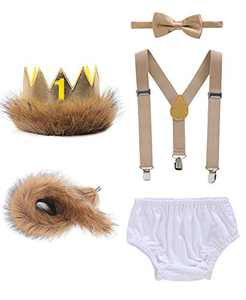 Shalofer Baby Boys Cake Smash Outfits Costume Rompers Infant Suspenders Bowtie Clothes Set (Brown,12-18 Months)