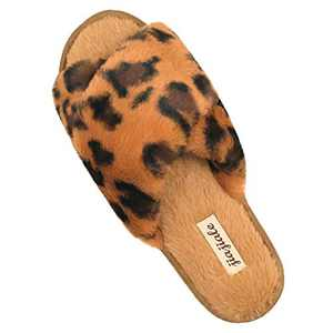 Women's Cross Band Soft Plush Slippers Furry Cozy Rabbit Fur House Shoes Open Toe Indoor Outdoor Fluffy Fuzzy Slides Leopard Brown 7